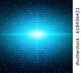 blue binary computer code... | Shutterstock .eps vector #618436421
