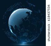 futuristic globalization... | Shutterstock .eps vector #618437534