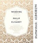 vintage wedding invitation...   Shutterstock .eps vector #618438194