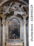 Small photo of ROME, ITALY - SEPTEMBER 03: Eucharistic Adoration altarpiece in the Chapel St. Francis Caracciolo , Church of St Lawrence at Lucina, Rome, Italy on September 03, 2016.