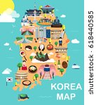map of korea attractions vector ...