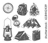 set of  camping equipments... | Shutterstock .eps vector #618442439