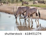 two large antelopes with... | Shutterstock . vector #618451274