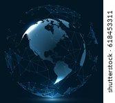 futuristic globalization... | Shutterstock .eps vector #618453311