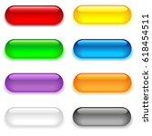 set of eight oval glass buttons.... | Shutterstock .eps vector #618454511