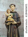 Small photo of BUCICA, CROATIA - JULY 19: Saint Anthony of Padua statue on the altar in the parish Church of Saint Anthony of Padua in Bucica, Croatia on July 19, 2016