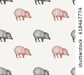 summer seamless pattern with... | Shutterstock .eps vector #618467774