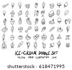 doodle sketch ice cream icons... | Shutterstock .eps vector #618471995