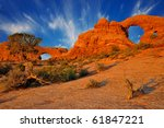 two arches in arches national... | Shutterstock . vector #61847221