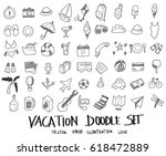 doodle sketch vacation icons... | Shutterstock .eps vector #618472889