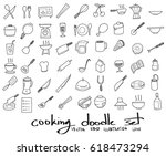doodle sketch cooking icons... | Shutterstock .eps vector #618473294