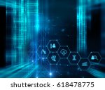 fintech icon  on abstract...   Shutterstock . vector #618478775