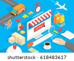 flat 3d isometric style design... | Shutterstock .eps vector #618483617