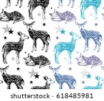 seamless pattern with hand... | Shutterstock .eps vector #618485981
