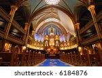 Montreal's Notre Dame Basilica. - stock photo