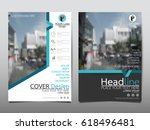 blue flyer cover business... | Shutterstock .eps vector #618496481