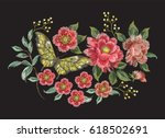 Stock vector embroidery colorful trend floral pattern with butterfly vector traditional folk roses and other 618502691