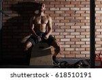 young athlete taking break... | Shutterstock . vector #618510191