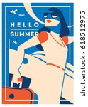 summer holiday and summer camp... | Shutterstock .eps vector #618512975