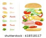 sandwich ingredients with text... | Shutterstock . vector #618518117