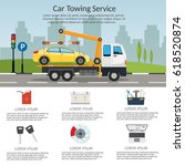 tow truck city road assistance... | Shutterstock .eps vector #618520874