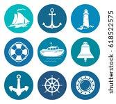 set of round marine travel... | Shutterstock .eps vector #618522575