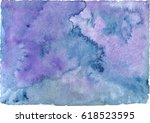 watercolor blue background.... | Shutterstock .eps vector #618523595