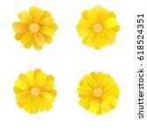 set of isolated yellow gerbera... | Shutterstock .eps vector #618524351