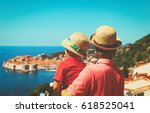 father and son on vacation in... | Shutterstock . vector #618525041