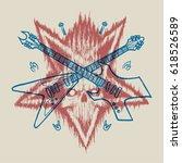 pentagram skull crossed rock... | Shutterstock .eps vector #618526589