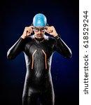 one caucasian  man triathlon... | Shutterstock . vector #618529244