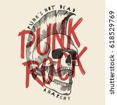 punk rock skull print. punk is... | Shutterstock .eps vector #618529769