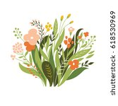 summer bouquet | Shutterstock .eps vector #618530969