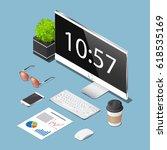 vector isometric concept... | Shutterstock .eps vector #618535169