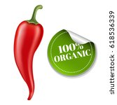 chilli pepper with label  | Shutterstock . vector #618536339