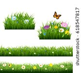 summer flowers with butterfly... | Shutterstock .eps vector #618547817