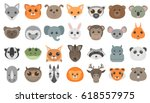 cute cartoon animals heads set. | Shutterstock .eps vector #618557975