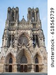 cathedral notre dame in reims ... | Shutterstock . vector #618565739