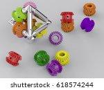 3d rendering gear assembly... | Shutterstock . vector #618574244
