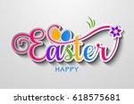 happy easter   vector easter... | Shutterstock .eps vector #618575681