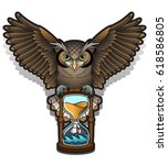 vector owl tattoo design  | Shutterstock .eps vector #618586805
