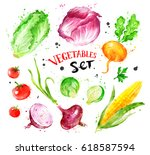 hand drawn watercolor colorful... | Shutterstock . vector #618587594