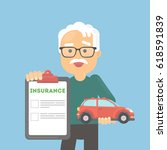 man shows car insurance. happy... | Shutterstock .eps vector #618591839