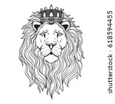 lion's head with crown for your ... | Shutterstock .eps vector #618594455