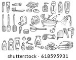 set of bath accessories in... | Shutterstock .eps vector #618595931