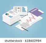 isometric heap of business... | Shutterstock .eps vector #618602984