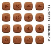 set of 16 round wooden icons...