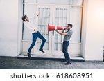 businessman shouting megaphone... | Shutterstock . vector #618608951
