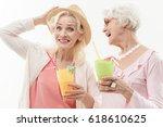 pretty old ladies enjoying... | Shutterstock . vector #618610625