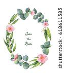watercolor hand painted oval... | Shutterstock . vector #618611585